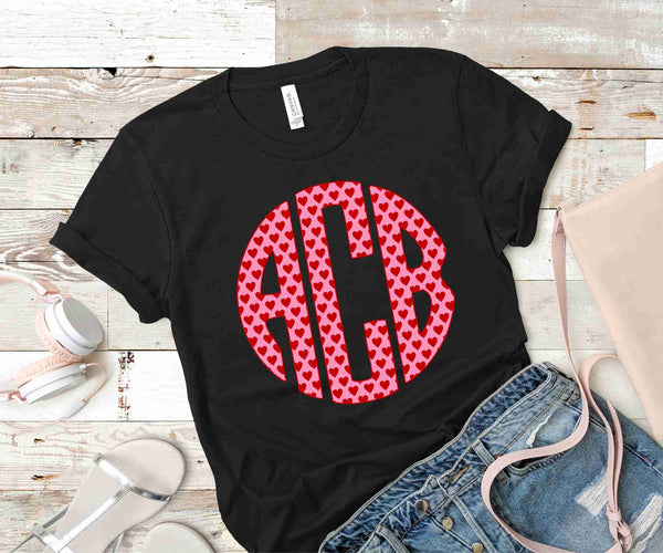 Valentine Hearts Monogram Transfer