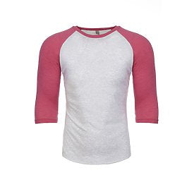 Unisex Raglan - Heather White/Pink