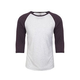 Unisex Raglan - Heather White/Purple