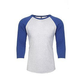 Unisex Raglan - Heather White/Royal