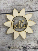 Sunflower Hello - Wood Cutout unfinished