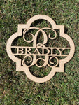 Quatrefoil Door Hanger - Last Name