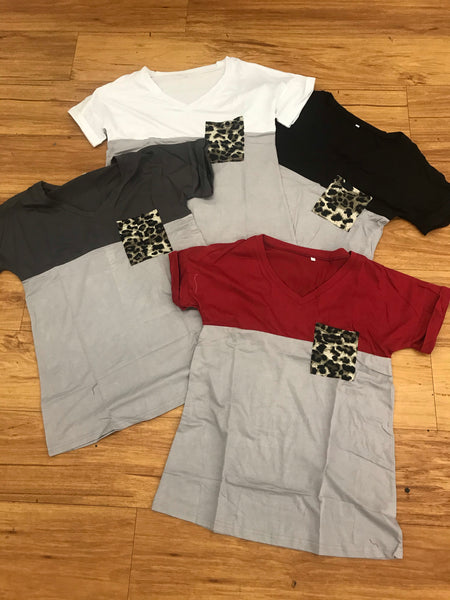 Block Leopard Pocket Shirt