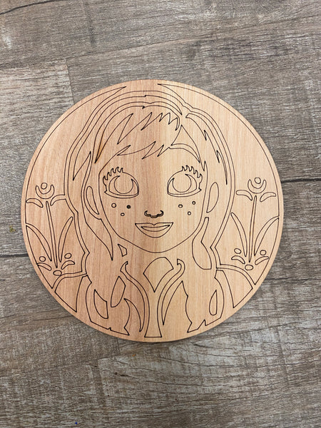 Wood Shape- Circle girl