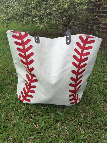 Canvas Baseball Tote