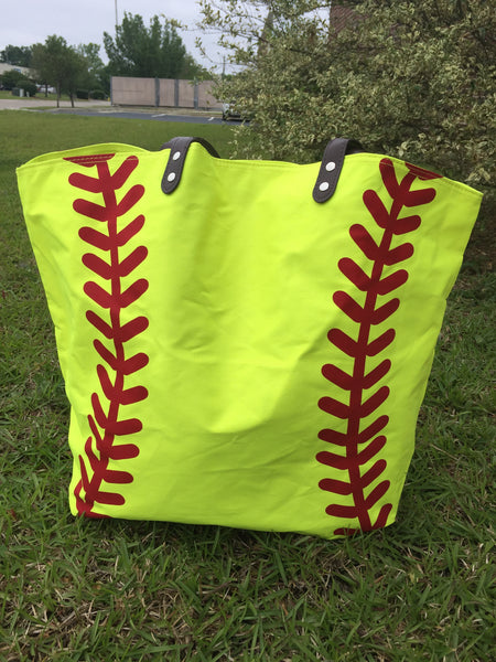Canvas Yellow Softball Tote