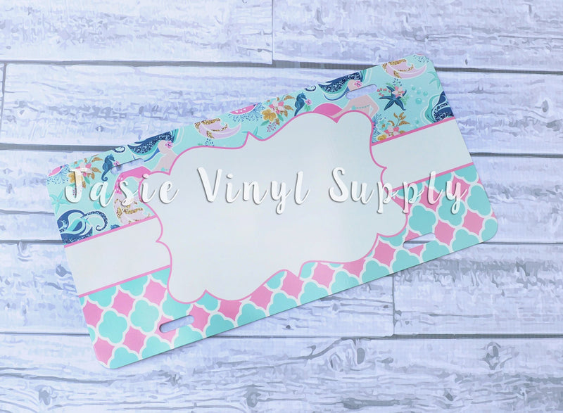 License Plate-Mermaid Quatrefoil