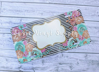 License Plate-Mint/Gold Floral Stripe