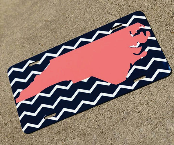 License plate- NC state coral/navy chevron