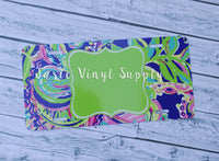 License Plate-New Lilly Print 1 Green Center