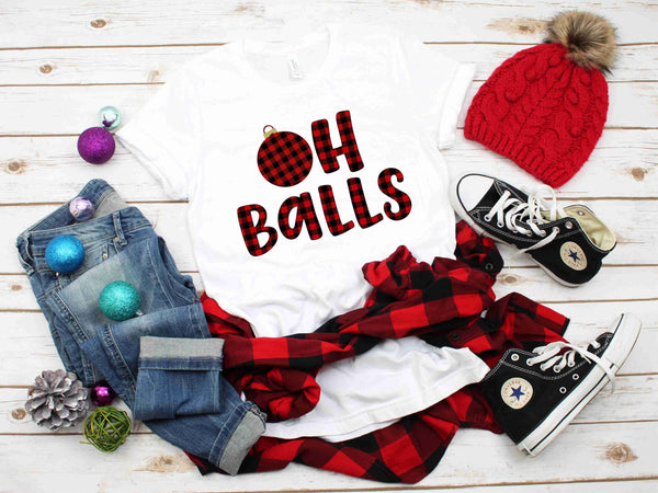 Oh Balls Buffalo Plaid - Transfer