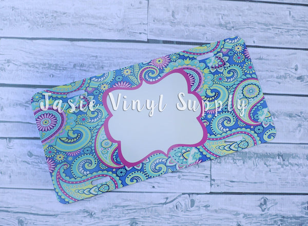 License Plate- Paisley Pattern