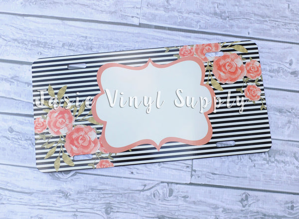 License Plate- Peach Floral Striped