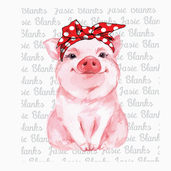 Pig Watercolor Bandanna - Transfer