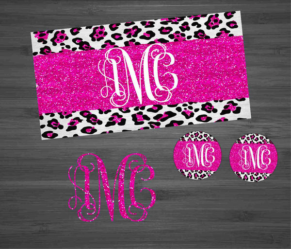 Pink Glitter Leopard Car Kit