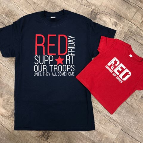 Military Support Shirts- Red On Friday's