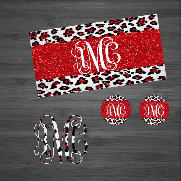 Red Glitter Leopard  Car Kit