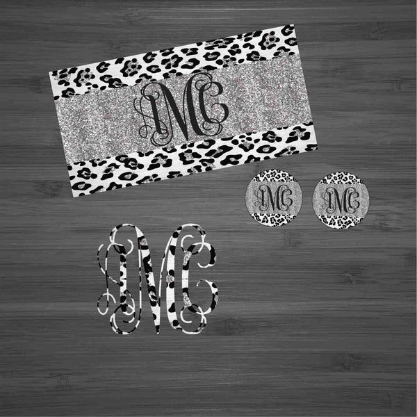 Silver Glitter Leopard Car Kit