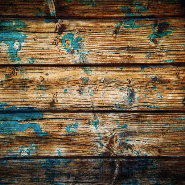 Distressed Wood #2 Natural Wood with Teal