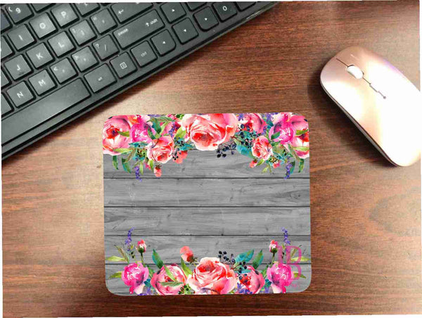 Wood Grain/ Flowers Mouse Pad