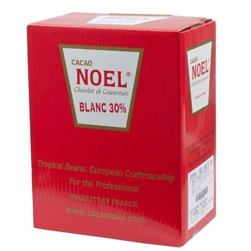 Noel White Chocolate Pistoles - 30%, Blanc - 1 box, 11 lb