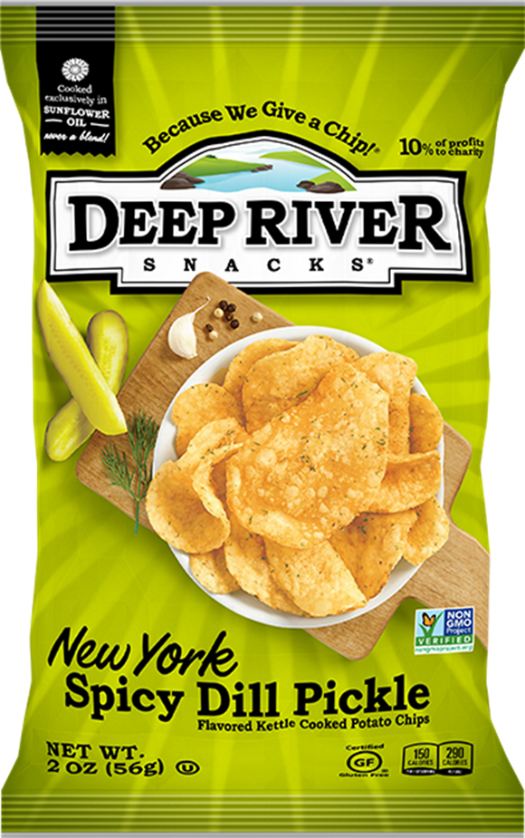 Deep River Spicy Dill Pickle Chips, 2 oz (Case of 24)
