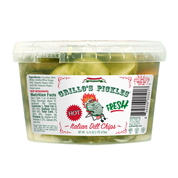 Grillo's Hot Italian Dill Pickle Chips, 16 Oz (Case of 6)