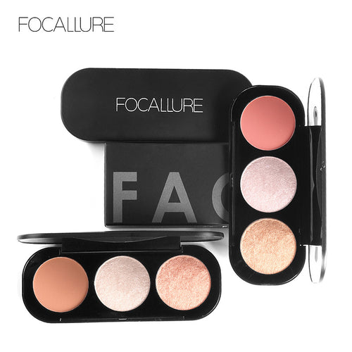 3 Colors Blush&Highlighter Palette - Beauty Fashion Hair Shop