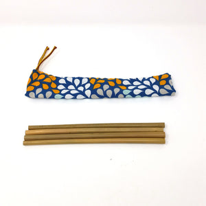 Zero waste bamboo straws kit with handmade travel pouch, reusable natural straws, zero dechet