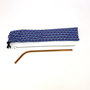 Reusable Stainless Steel Straw and cleaning brush in a travel pouch, Zero waste