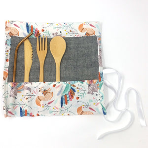 Zero Waste Kit: Unique travel pouch with reusable bamboo cutlery and stainless steel straw, limited boho collection