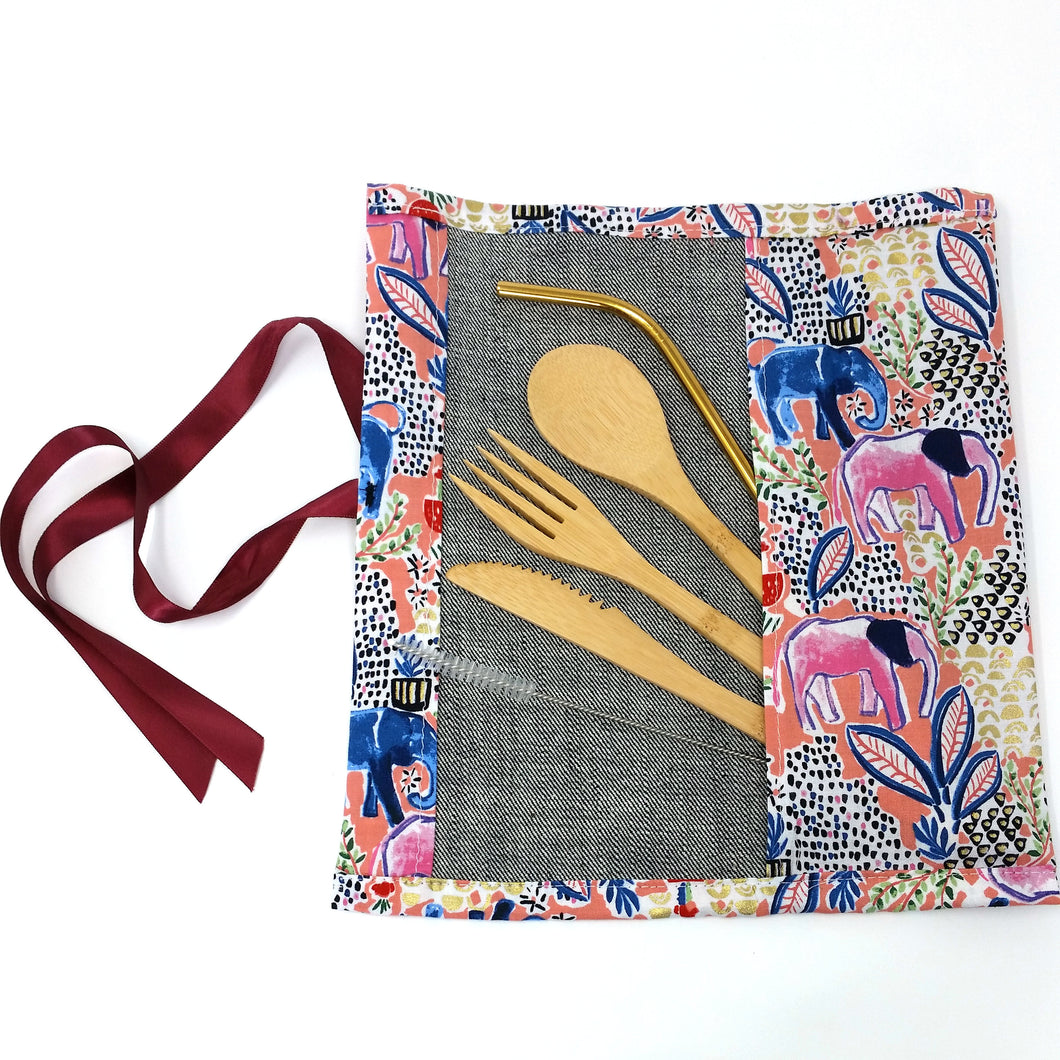 Zero Waste Kit: Unique travel pouch with reusable bamboo cutlery and stainless steel straw, limited edition, elephants print