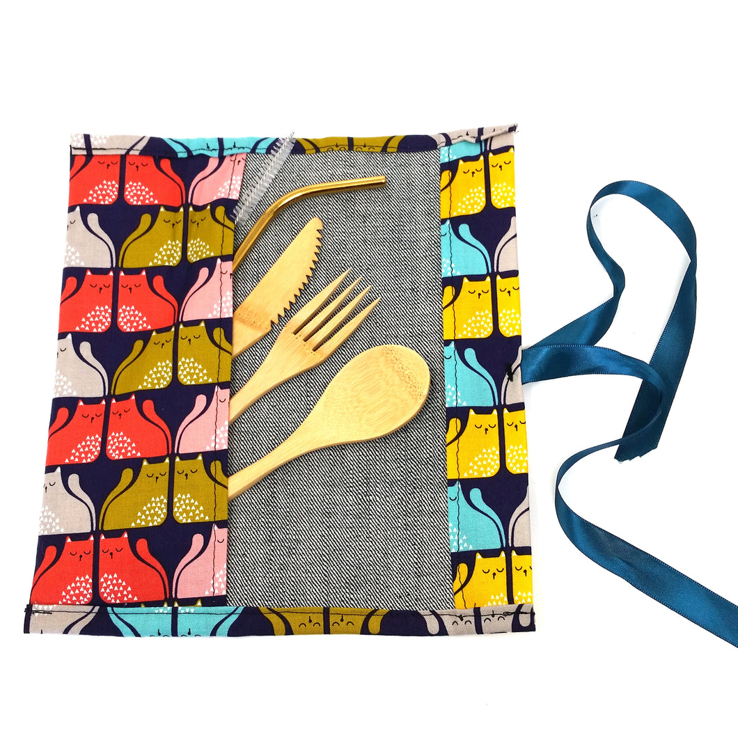 Zero Waste Kit: Unique travel pouch with reusable bamboo cutlery and stainless steel straw, limited edition, cats print