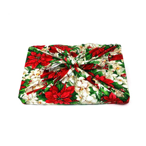 Zero waste reusable gift wrap, Unique Christmas eco friendly fabric gift wrap, furoshiki inspired, zero dechet, holidays poinsettia, flowers