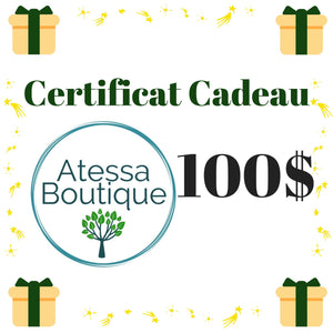 Atessa Boutique Exclusive Gift Card 100 dollars, zero waste gift, zero waste items