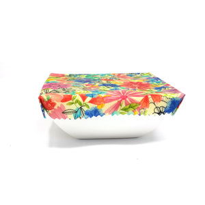 Eco Friendly Reusable Beeswax Food Wrap, Zero waste, floral print, colorful flowers, valentine gift for her