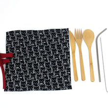Zero Waste Kit: Unique travel pouch with reusable bamboo cutlery and stainless steel straw, limited edition, cats print, black and white