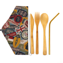 Zero Waste Cutlery Kit: Unique travel pouch with reusable bamboo cutlery and stainless steel straw