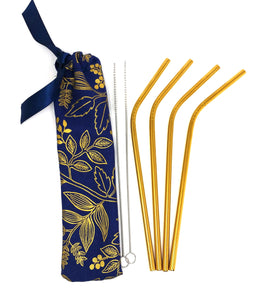 Reusable straw pouch with stainless steel straws and cleaning brushes, zero waste travel kit