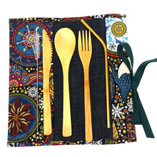 Zero Waste Kit: Unique travel pouch with reusable bamboo cutlery and stainless steel straw, handmade owl and stars limited edition