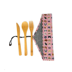 Zero Waste Cutlery Kit: Unique travel pouch with reusable bamboo cutlery, cat lovers
