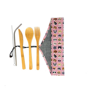 Zero Waste Cutlery Kit: Unique travel pouch with reusable bamboo cutlery and stainless steel straw, cat lovers edition