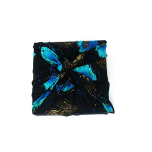 Zero waste reusable gift wrap, Unique eco friendly fabric gift wrap, furoshiki inspired, zero dechet, peacock feathers wrap