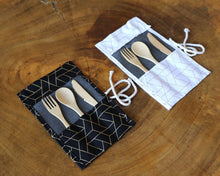 Zero Waste Cutlery Kit: Zero waste duo with reusable bamboo cutlery, geometrical pouch, him and her gift, bridal gift, newlyweds gift