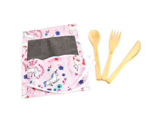 Kids Zero Waste Cutlery Kit: Kids lunch kit with mini reusable bamboo cutlery, girls lunch kit