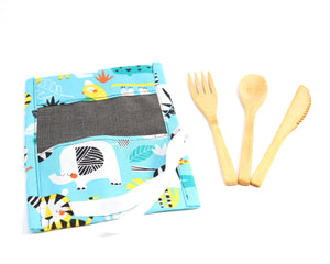 Kids Zero Waste Cutlery Kit: Kids lunch kit with mini reusable bamboo cutlery, boys lunch kit