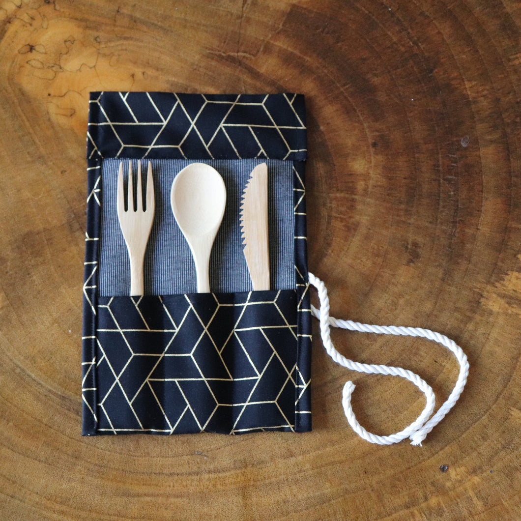 Zero Waste Cutlery Kit: Unique travel pouch with reusable bamboo cutlery, geometrical pouch