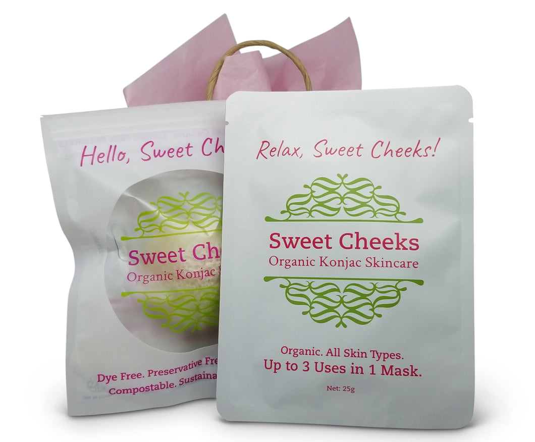 Sweet Cheeks Organic Konjac Polisher & Hyaluronic Acid Mask Gift Set