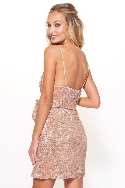 Reunited Sleeveless Sequined Wrap Rress