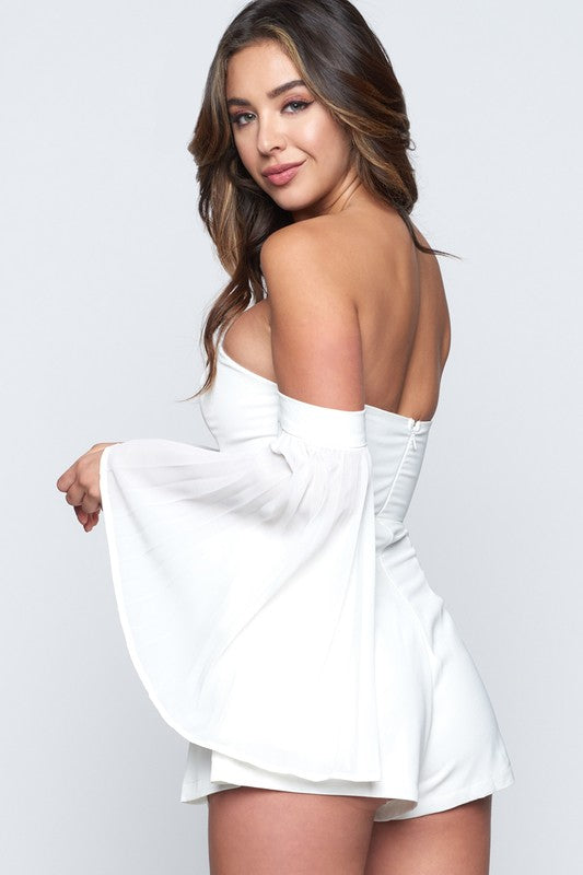 White Off The Shoulder Romper With Trumpet Sleeves